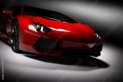 obraz lub plakat Red fast sports car in spotlight, black background. Shiny, new, luxurious.