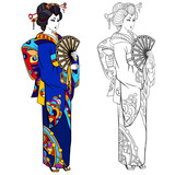 Coloring book page for adult. Black ink illustration, contour drawing for coloring. Japanese woman in a kimono. Hand drawn artwork. - 115250387