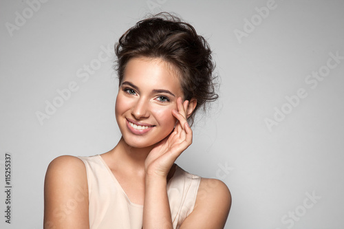 Portrait of young woman with perfect skin clean with natural make-up Poster