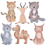 Exotic Animals Watercolor Hand-painted Illustration Isolated on the white