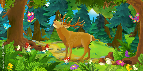 Cartoon scene with happy wild deer standing in the forest - illustration for children