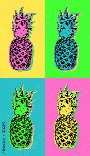 Naklejka Pop art design with colorful summer pineapple