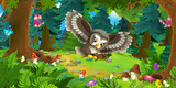 Cartoon scene with happy flying owl - in the forest - illustration for children