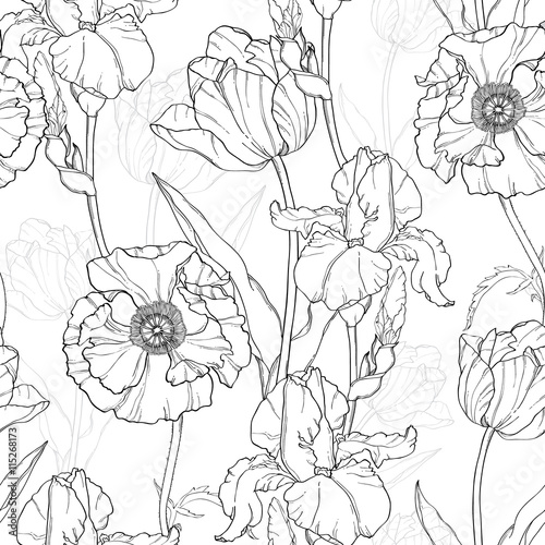 Vector Vintage Black White Flowers Drawing Seamless Repeat Pattern With Tulips, Poppies, Iris In Classic Retro Style Textile Design