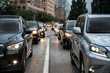traffic congestion after working hours in New York City. People going from work and stucked on the evening road traffic.