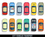 Fototapety Cars top view vector flat city vehicle transport icons set. Automobile car for transportation, auto car icon illustration
