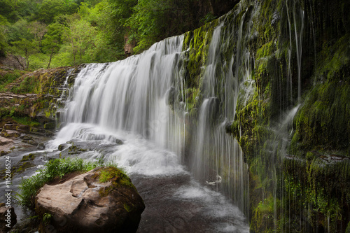 Sgwd Clun Gwyn Waterfall, near Panwar falls on the Mellte river in South Wales, UK.