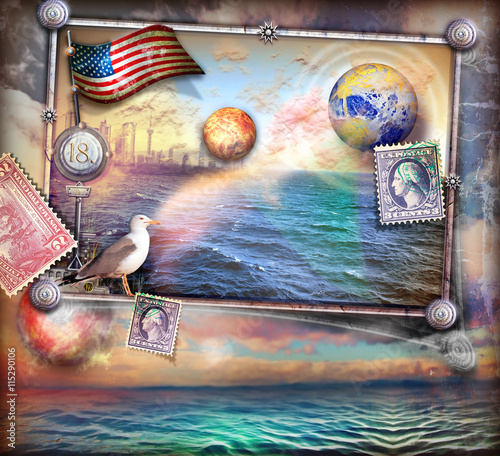 Fototapeta Fairytales sea and vintage stamps