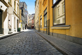Fototapety Street without people early in the morning. Europe. Riga