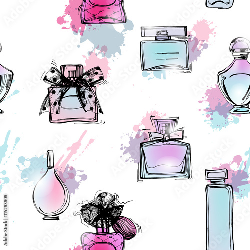 Materiał do szycia Seamless pattern with beautiful bottles of perfume. Women's perfume. Vector watercolor.