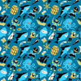 Retro seamless pattern with pirates and shark and underwater life