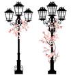 spring streetlights among flowers set