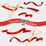 Fototapety Scissors And Ribbon Transparent Set