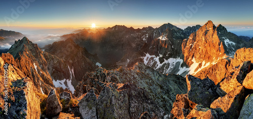 obraz PCV Mountain sunset panorama landscape in Tatras, Rysy, Slovakia
