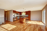 Spacious kitchen interior with hardwood floor in luxury house.