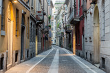 Typical street in neighborhood Brera, Milan - Italy.