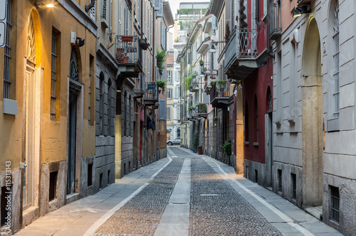Staande foto Milan Typical street in neighborhood Brera, Milan - Italy.