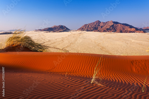 obraz PCV Detail of a red dune and mountains in Namibia, Africa