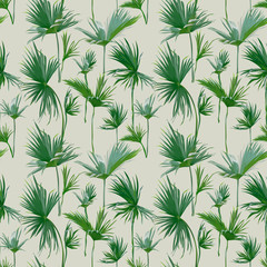 Seamless Tropical Palm Leaves Background. Exotic Summer Texture