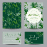 Save the Date Card. Tropical Palms Leaves. Wedding Invitation Card