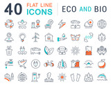 Set Vector Flat Line Icons Eco and Bio