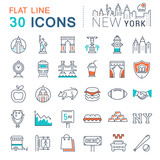 Fototapety Set Vector Flat Line Icons New York