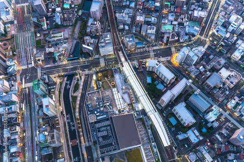 Poster aerial view of cityscape of tokyo japan