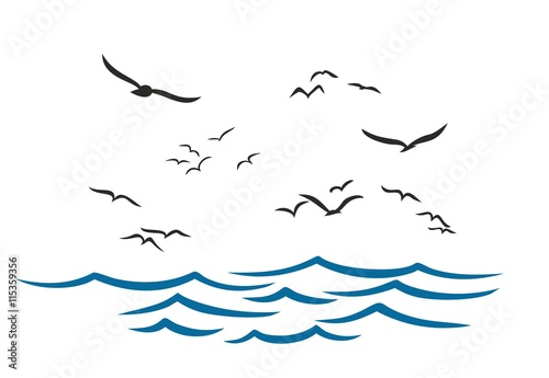 Sea with seagulls.
