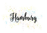 Hamburg, Germany. Capital city typography lettering design.