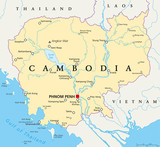 Cambodia political map with capital Phnom Penh, national borders, important cities, rivers and lakes. Kingdom in Indochina, Southeast Asia, once known as Khmer Empire. English labeling. Illustration - 115369517