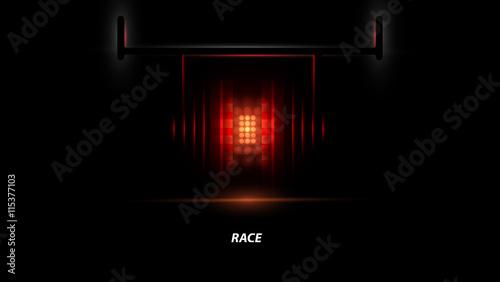 Poster F1 Racing car backlight. F1 spotlight. Abstract dark background