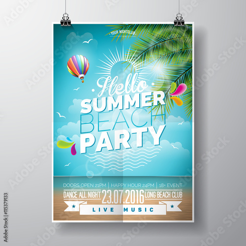 Zdjęcia na płótnie, fototapety, obrazy : Vector Summer Beach Party Flyer Design with typographic elements on ocean landscape background. Air balloon and palm tree.