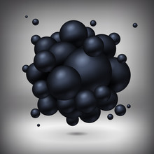 Spheres stick together, black balls, abstract object, vector design