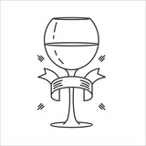 Glass of wine. Isolated on white background, vector icon.