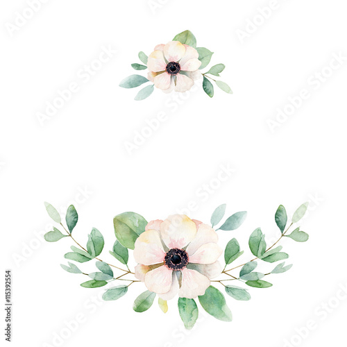 Floral composition with anemone and leaves