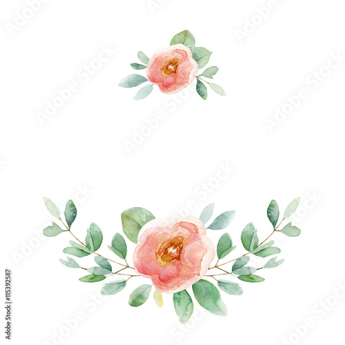 Floral composition with rose and leaves