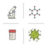 Science laboratory color icons set