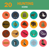 Set of twenty color flat hunting icons