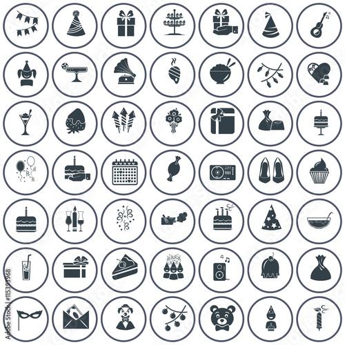 Zdjęcia na płótnie, fototapety, obrazy : Set of fifty party icons