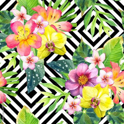 Materiał do szycia Seamless background with watercolor tropical flowers.
