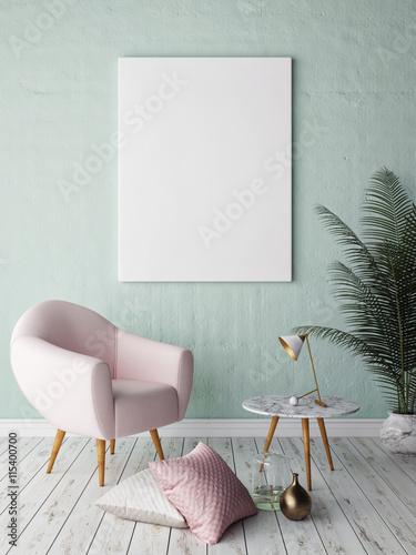 makiety puste plakat na ścianie salonu hipster, renderowania 3d
