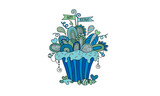 Birthday Cupcake Hand Drawn Doodle Vector Blue & Green