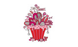 Birthday Cupcake Hand Drawn Doodle Vector Bright Pink