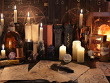 Mystic still life with magic objects, books and candles