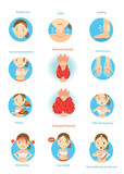 Hyperthyroidism/Symptoms of the disease hyperthyroidism  illustrations in the circle.Cartoon Vector