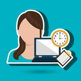 woman with computer  isolated icon design, vector illustration  graphic