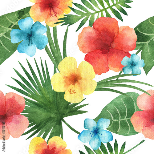 Cotton fabric Watercolor seamless pattern with exotic flower.