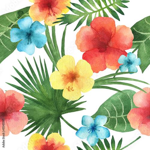 Stoffe zum Nähen Aquarell, nahtlose Muster mit exotischen Blumen.