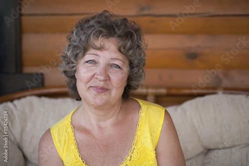 Poster Close up portrait of lovely middle aged woman