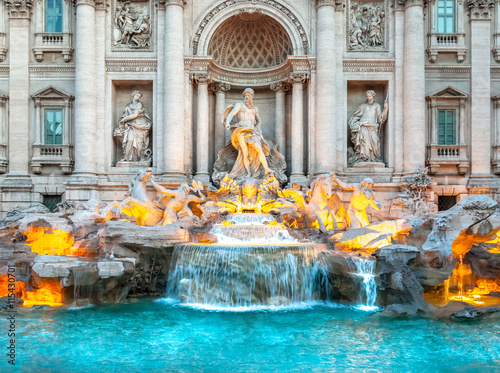 Trevi fountain at sunrise, Rome, Italy